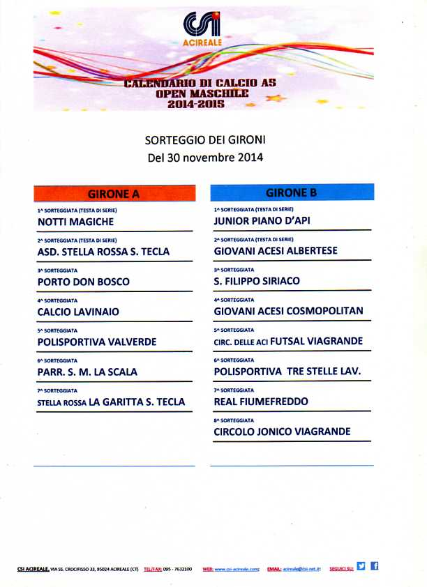 Calcio a5 open, sorteggio dei gironi - 2